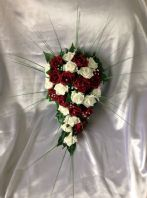 ARTIFICIAL FLOWER IVORY/BURGUNDY FOAM ROSE BRIDE WEDDING SHOWER TEARDROP BOUQUET